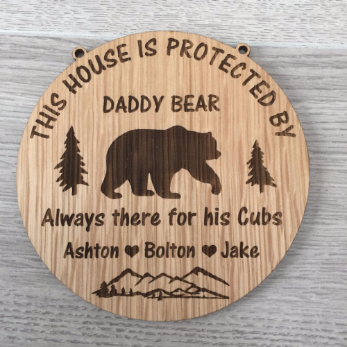 Bear Plaque 'This house is protected by' Oak Veneer